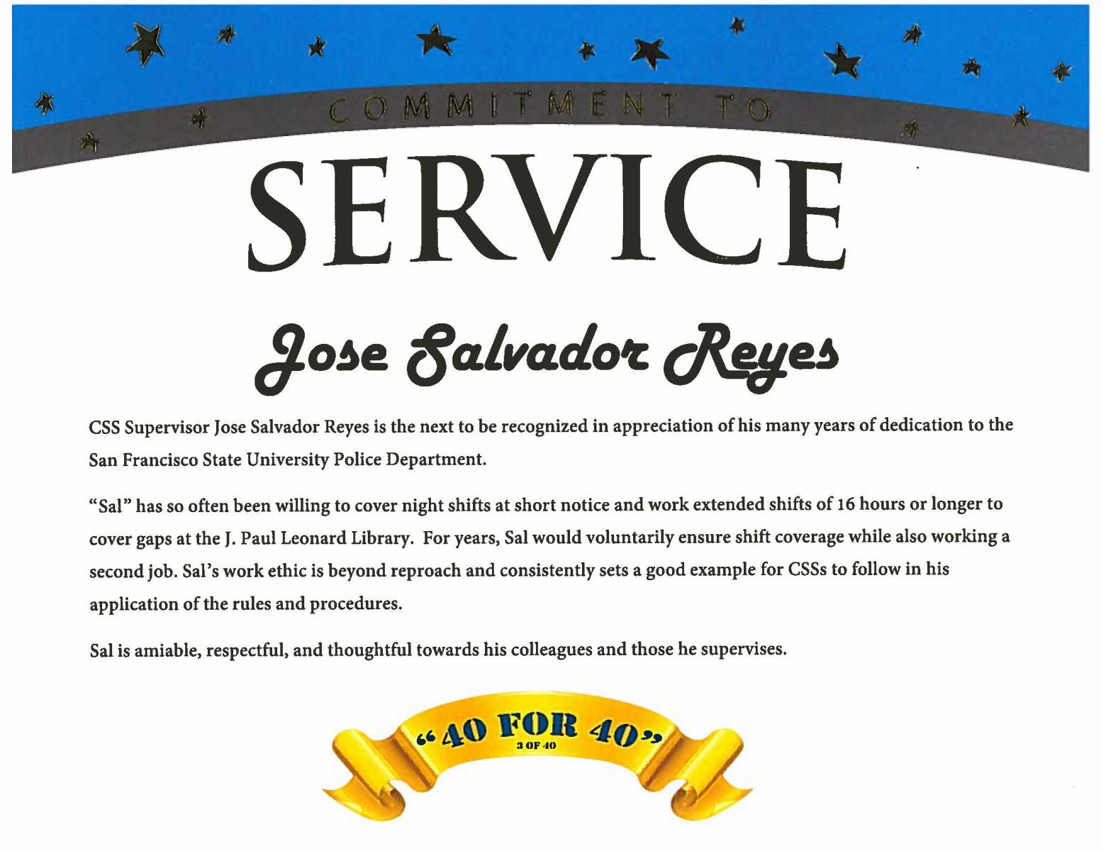 Service recognition award for CSS Salvador