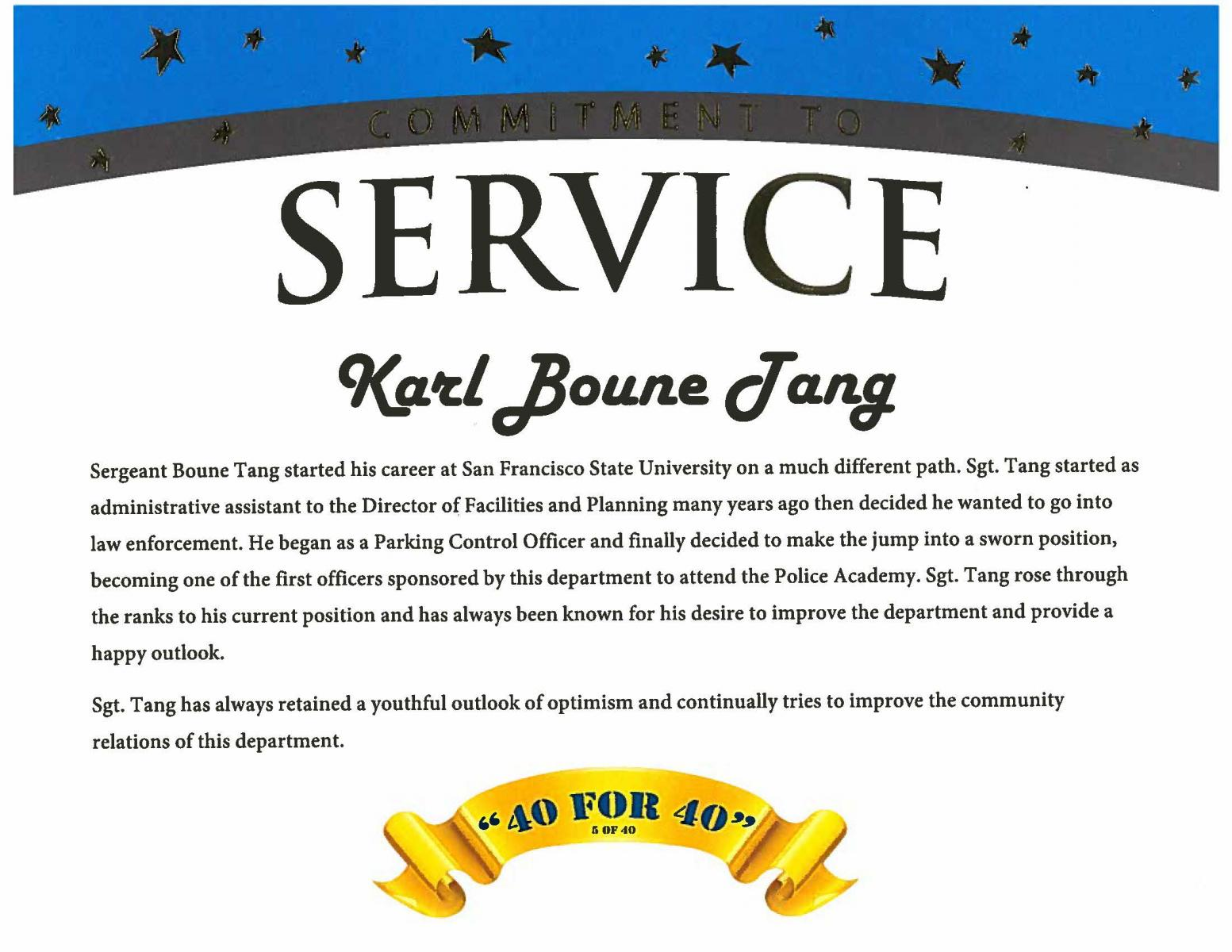 Service recognition award for Sgt. Tang