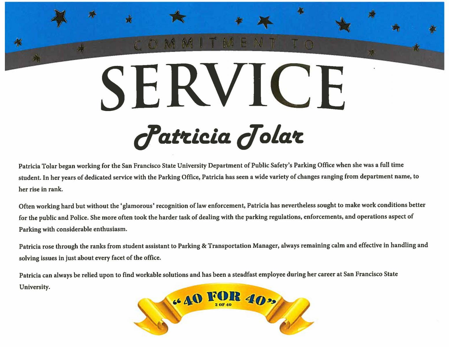 Service recognition award for Tolar