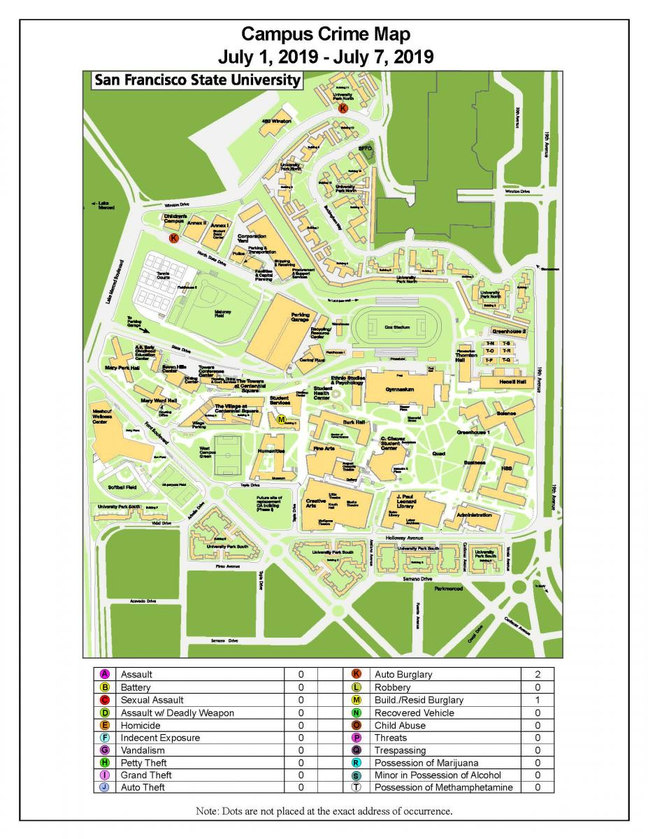 Campus Crime Map   San Francisco State University Police ... on mountain state university campus map, morehead university campus map, armstrong university campus map, cal state fullerton university campus map, campolindo campus map, academy of art university campus map, ole miss university campus map, lmu university campus map, bridgeport university campus map, eastern carolina university campus map, north dakota university campus map, smu university campus map, east tennessee state university campus map, cal poly pomona university campus map, kentucky university campus map, virginia university campus map, humboldt university campus map, southern new hampshire university campus map, xiamen university campus map, puget sound university campus map,